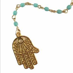 Jessica Elliot Hamsa Hand Y Beaded Necklace